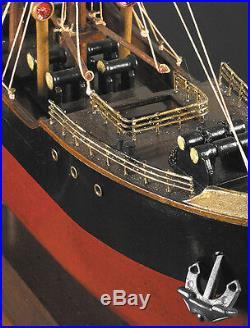 1897 Malacca Tramp Steamer Wooden Cargo Ship Model 26.75 Nautical Decor