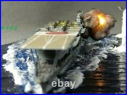 Fully Assembled Ship Model with Seascape Base Akagi Aircraft Carrier Attacked