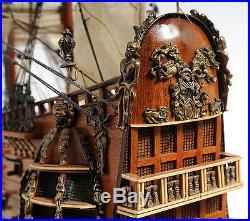 HMS Fairfax Royal Navy Tall Ship Model 35 Wooden Sailboat Nautical Decor New