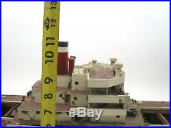 Huge 50 Vtg Mid Century Wood Model Ship American Scout Cargo Boat (4 REPAIR)