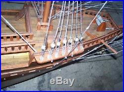 Large 156 Wooden Model Ship on Wheels France II -7' High Mast 175lbs 13