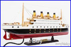 New Rms Titanic Handcrafted Wooden Model Boat Cruise Ship 60cm With Lights