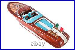 RIVA AQUARAMA 70cm (Blue/White) Wooden Model Speed Boat Ship Gift Decoration