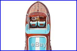 RIVA AQUARAMA LAMBORGHINI 70cm Handcrafted Wooden Model Speed Boat Ship