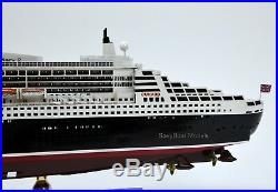 RMS Queen Mary 2 Cunard Line Handmade Ship Model 34 with lights Scale 1/400