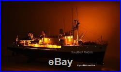 RV Calypso Research Vessel Handmade Wooden Ship Model with lights 36