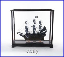 Tall Ship Model Display Case Wooden Medium 34 Table Top Cabinet Stand New